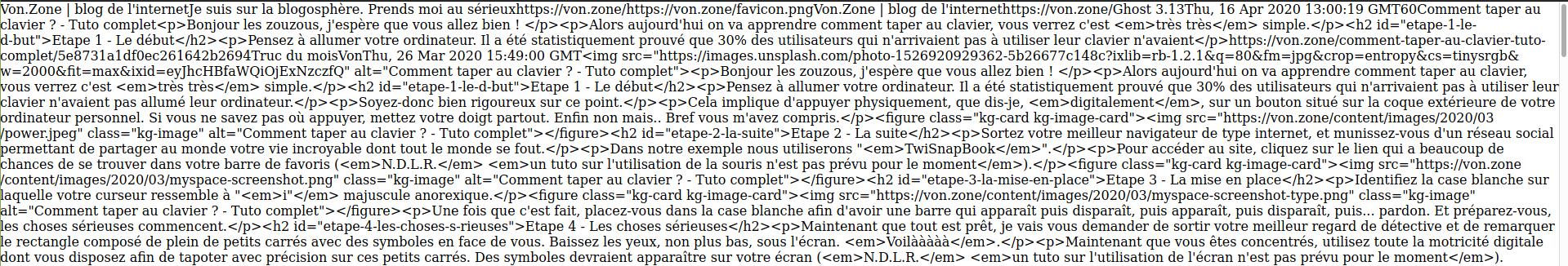 exemple du format RSS, on voit plein de balises HTML et plein de texte correspondant aux articles du blog