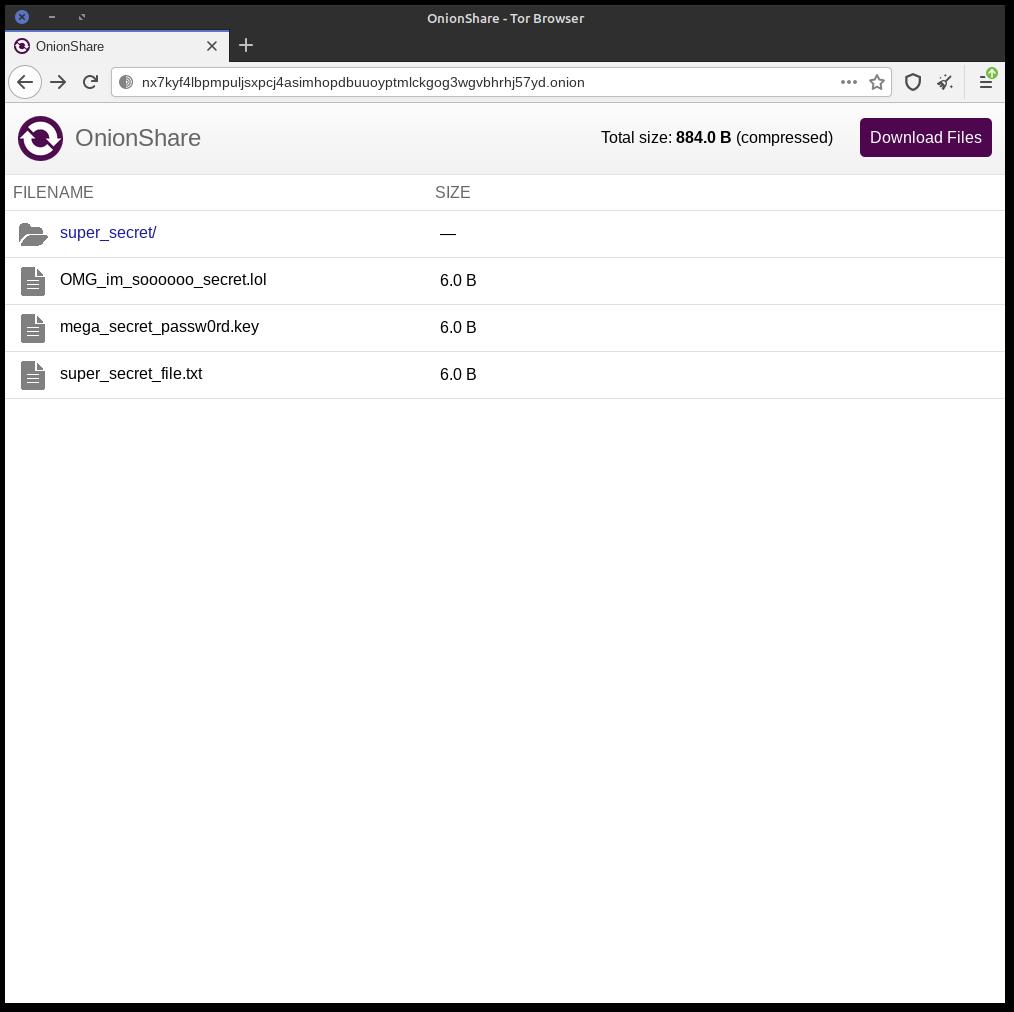 Navigateur Tor pointant sur l'url OnionShare qui montre une liste des fichiers et du dossier partagé, comme un navigateur de fichiers. Il y a un bouton pour télécharger violet en haut à droite.